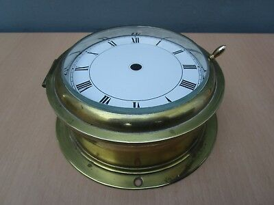 Vintage Ships Brass Clock Case With Hinged Glass Bezel For Spares Or Repair
