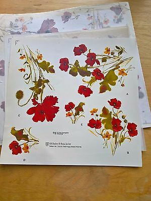 Ceramic Waterslide Decals Sample Selection Poppies
