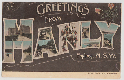 Australia NSW NEW SOUTH WALES Greetings from MANLY Sydney Star postcard 1917 pmk