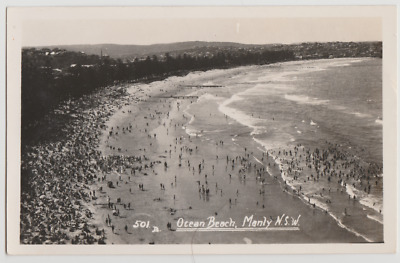 Australia NSW NEW SOUTH WALES Ocean Beach MANLY Sydney photo postcard c1930s