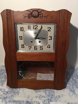 FRENCH Antique MORBIER Wall CLOCK Pendulum Vintage (3060)
