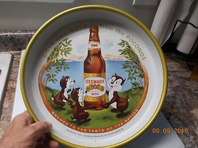 """Vintage 1959 Stegmaier 13"""" Tin Beer Tray, Cold and Gold from the Poconos"""