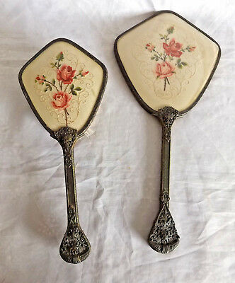 Vintage Victorian Reproduction Hand Brush & Mirror Set ~ Vanity, Patina