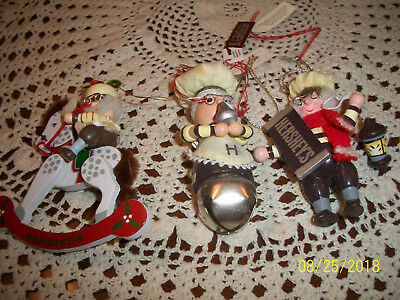 "THREE Hershey's Chocolate Wood Christmas Ornaments Kurt Adler ""Chef"" With Tags"