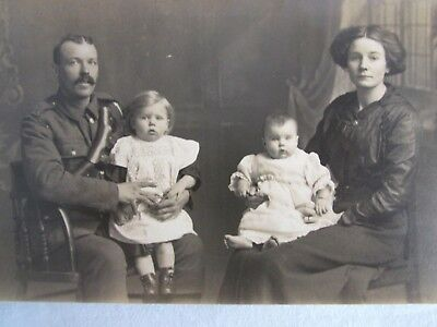 Poignant WW1 RPPC Soldier with Wife & Children Dated March 1917 to Kate