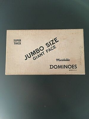 Vintage Puremco No. 1432 Jumbo Size Extra Thick Giant Face Dominoes