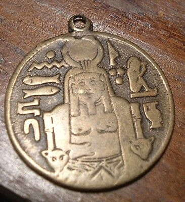 Antique Medal : Fob / Egypt Egyptian Pyramid Sphinx / Magic