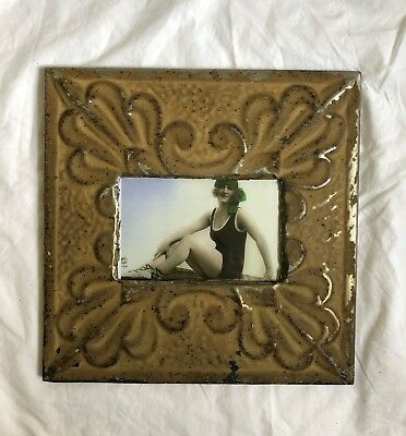 "Antique 1890's Ceiling Tin Picture Frame 4"" x 6"" Reclaimed Metal Brown 526-18"