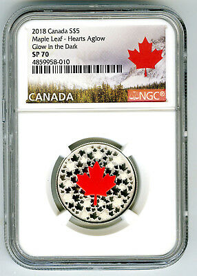 2018 $5 Canada .9999 Silver Ngc Sp70 Hearts Aglow Glow In The Dark Maple Leaf