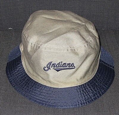 Vintage Cleveland Indians Beige Cotton Navy Reversible Bucket Hat Adult Os 81b04b78fe2
