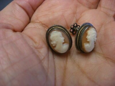 Antique Victorian Art Nouveau Jewelry - Pair of Cameo Screw Back Earrings