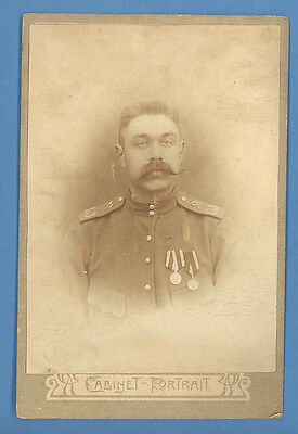 RUSSIA SOLDIER WIHT MEDALS PHOTO CABINET 1917s (B1523)