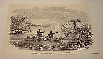 1887 magazine engraving ~ CHILLOUKS WITH REED BOATS