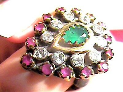 VINTAGE ANTIQUE  EMERALD SILVER RING 7 MEDIEVAL BIG SAPPHIRE STERLING 925 opera