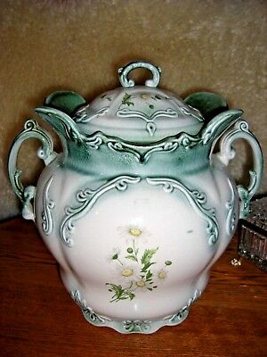 Antique Huge Ironstone Staffordshire England Chamber Pot Slop Jar With Lid