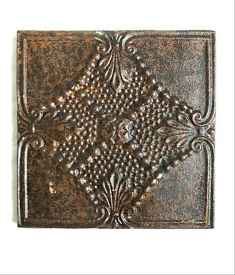"""11"""" x 11 Antique Tin Ceiling Tile Wrapped Frame Rust Metal 528-18"""