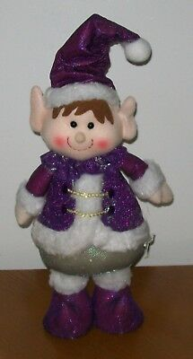 "New 14"" Standing Christmas Elf Doll Santa's Helper Winter Elves Purple"