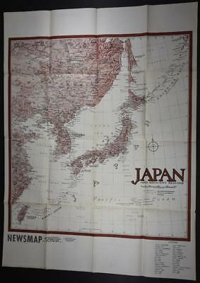 Large WWII Original NEWSMAP POSTER 7/17/44 US GI Issue MAP JAPAN Europe Guam