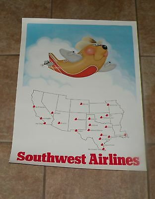 SOUTHWEST AIRLINES BOEING 737 POSTER TJ LUV  21 Cities 10 States