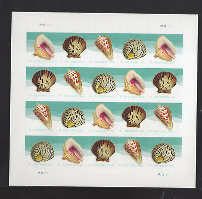 5163 - 5166 Seashells Postcard Rate Forever Full Sheet
