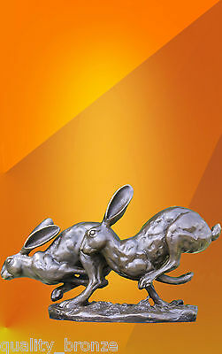 Hot Cast Bronze Running Hares ,  Bronze Statue Sculpture Animal Figure