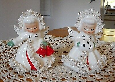 Vintage 1959 Holt Howard Christmas Angel Shakers W/ Spaghetti ~ As Is