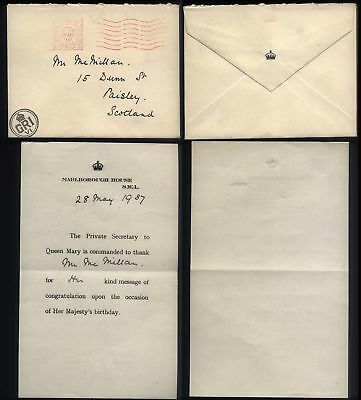 1937 QUEEN MARYS Birthday, GRI/VI Cypher Official Mail, MARLBOROUGH HOUSE