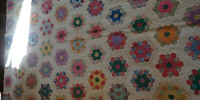 Vintage Feedsack Quilt Top Grandmother Spence Flower Garden date 1949 WoW! #1