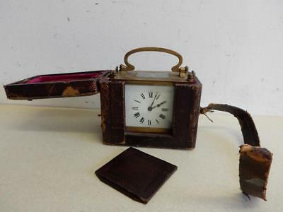 REALLY OLD clock antique CARRIAGE CLOCK wind up IN CASE