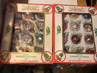 Vintage Hand Decorated Glass Christmas Tree Ornaments Commodore Made in Romania