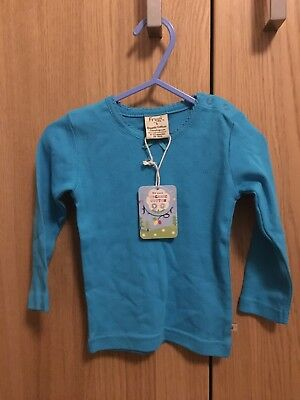 Frugi Pointelle Top, Turquoise, 6-12 Months BNWT