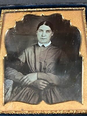 Cased Daguerreotype Brookfield NY Identified Woman with Large Hands Old Photo