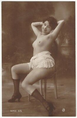 1920 French NUDE Photograph - Gorgeous Smile & Black Stockings, Jean Agelou