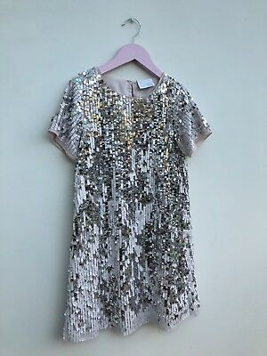 GIRLS NEXT SIGNATURE SILVER SEQUIN SPARKLE DRESS 9 10 Worn Once CHRISTMAS PARTY