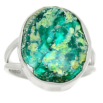 Ancient Roman Glass 925 Sterling Silver Ring Jewelry s.8 AR8551