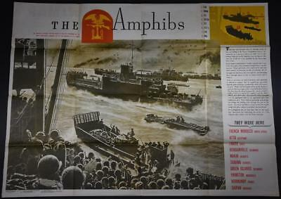 Large WWII Original NEWSMAP POSTER 8/7/44 US Issue MAP Navy Amphibious Command
