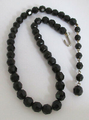 Vintage Faceted Jet-Black Glass Bead Necklace
