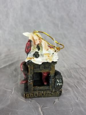 Santa Christmas Ornament Reading Letters Norman Rockwell Resin US MAIL f