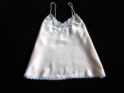 Vintage Sara Beth Lacy Pink Satin Camisole M Bias-Cut Embroidery Pearls NEW