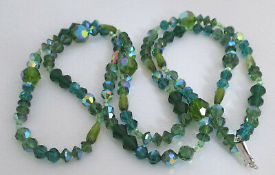 Vintage Faceted Green Glass Bead Necklace 49""