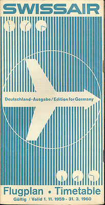 Swissair Germany system timetable 11/1/59 [6021]