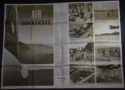 Large WWII Original NEWSMAP POSTER 6/5/44 US GI Issue MAP Gliders Air Commandos