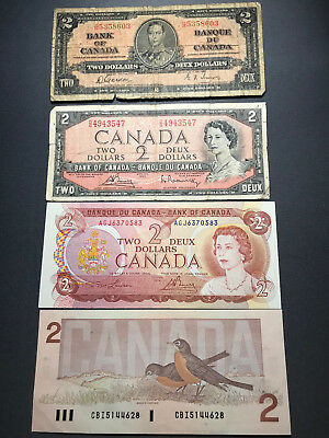 Group of 4 Different Bank of Canada $2 Old Bills 1937 1954 1974 1986