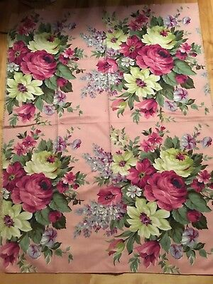 Vintage 1940's 1950's Barkcloth Fabric Curtain  Shabby Chic Roses Pink