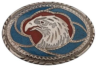 Vtg Eagle Belt Buckle Turquoise Coral Stone Inlay SSI Bird 1970s Hawk Head Large