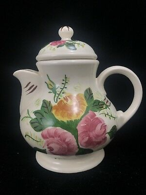 BLUE RIDGE SNUB NOSE TEAPOT Southern Potteries ROSE BOUQUET Vintage Floral China
