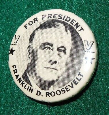 Political FDR Pin Button FRANKLIN D. ROOSEVELT FOR PRESIDENT V For Victory WWII