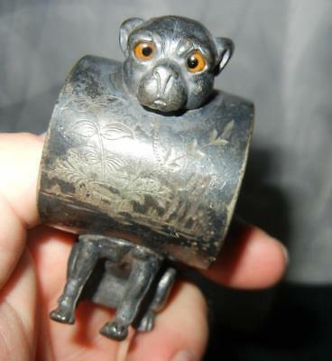 "Antique 3"" Figural Bulldog With Glass Eyes Silver Plate Napkin Ring Victorian"