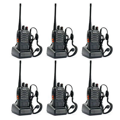 Walkie Talkie 6 pack Baofeng 888s Long Range Two Way Radio UHF400-470Mhz 16CH