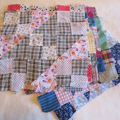 14 Vintage Patchwork Quilt Blocks 1920s Jacobs Ladder Hand Sewn